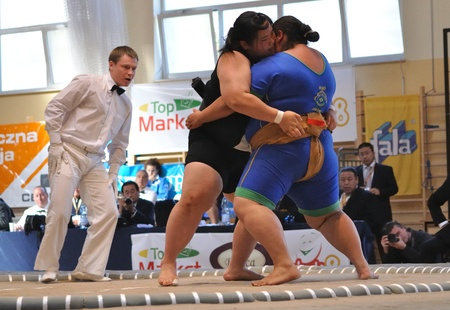wrestler: Warsaw, Poland - October 17, 2010 - Women fighting at The World Sumo Championships