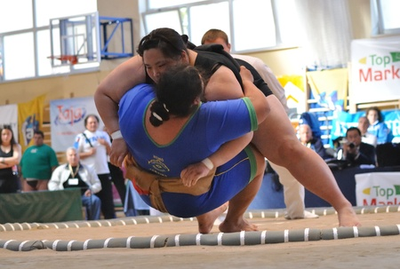 Warsaw, Poland - October 17, 2010 - Women fighting at The World Sumo Championships
