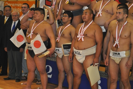 Warsaw, Poland - October 17, 2010 - Winners of The World Sumo Championships Editorial