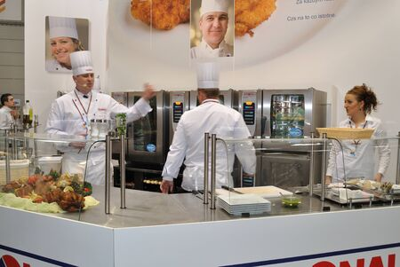 Warsaw, Poland - March 26, 2010 - Cooks at work - 14th International Food Service Trade Fair.
