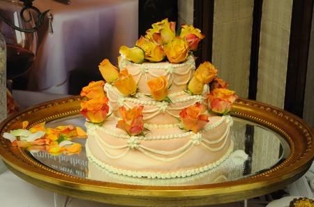 Warsaw, Poland - January 16, 2010 - Three tiered wedding cake presented during the Wedding Fashion Show. Stock Photo - 9084002
