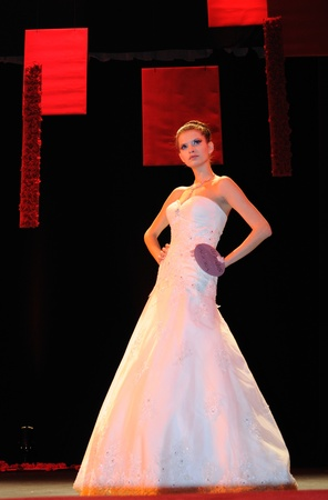 Warsaw, Poland - January 16, 2010 - Model in bridal dress on the catwalk, during the Wedding Fashion Show.