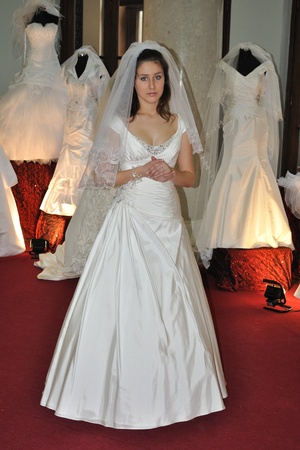 Warsaw, Poland - January 16, 2010 - Model in bridal dress during the Wedding Fashion Show.