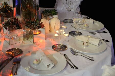 Warsaw, Poland - January 16, 2010 - Wedding reception table set presented at the trade fair - Polish Wedding Gala.