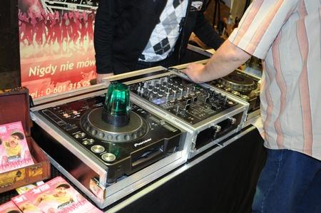 deejay: Warsaw, Poland - January 16, 2010 - Presentation of DJ acoustic equipment at the trade fair - Polish Wedding Gala.