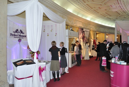 Warsaw, Poland - January 16, 2010 - Exhibition stands at the trade fair - Polish Wedding Gala. Editorial
