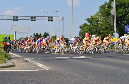 Warsaw, Poland - August 1, 2010 - Cyclists during Stage 1 of the Tour de Pologne - from Sochaczew to Warsaw. Editorial