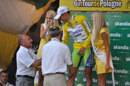 Warsaw, Poland - August 1, 2010 - Jacopo Guarnieri winner of the stage 1 cycling race receives congratulations from Czeslaw Lang - Director of the 67.Tour de Pologne.