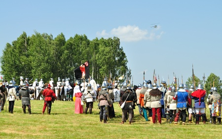 Grunwald, Poland - July 18, 2009 - Overall view of historical reenactment 1410 Battle of Grunwald, Kingdom of Poland and the Grand Duchy of Lithuania against the Teutonic Order. Stock Photo - 9232163