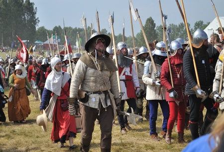 Grunwald, Poland - July 18, 2009 - Participants of historical reenactment 1410 Battle of Grunwald, Kingdom of Poland and the Grand Duchy of Lithuania against the Teutonic Order. Editorial