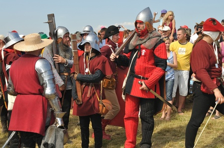 Grunwald, Pologne - Juillet 18, 2009 - Les participants de la reconstitution historique de la Bataille 1410 Grunwald, Royaume de Pologne et le Grand Duch?e Lituanie contre l'Ordre Teutonique. Banque d'images - 9232179