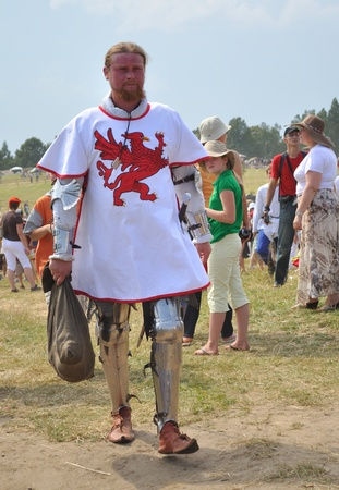 Grunwald, Poland - July 18, 2009 - Participant of historical reenactment 1410 Battle of Grunwald, Kingdom of Poland and the Grand Duchy of Lithuania against the Teutonic Order.