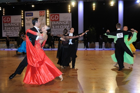 vying: Lesznowola, Poland - March 27, 2010 - Participants Dance Tournament, vying for the Cup of the Mayor municipality.