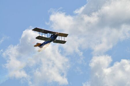 jenny: Radom, Poland - August 30, 2009 - Replica biplane Curtiss JN-4 Jenny in flight, during 11th Edition of the AIR SHOW.