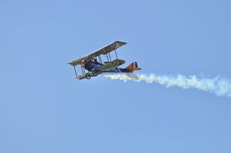 Radom, Poland - August 30, 2009 - Replica biplane Curtiss JN-4 Jenny in flight, during 11th Edition of the AIR SHOW.