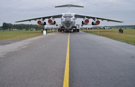 airstrip: Radom, Poland - August 29, 2009 - 4-engined strategic airlifter Ilyushin il-76 Candid at the airstrip, during 11th Edition of the AIR SHOW - 2009 International Air Display.