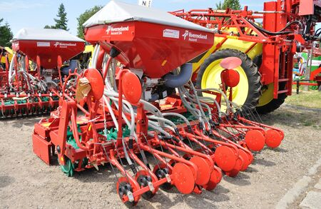 seed drill: Plonsk, Poland - June 12, 2010 - Pneumatic seed drill showcase, during the 11th Masovian Agriculture Days.