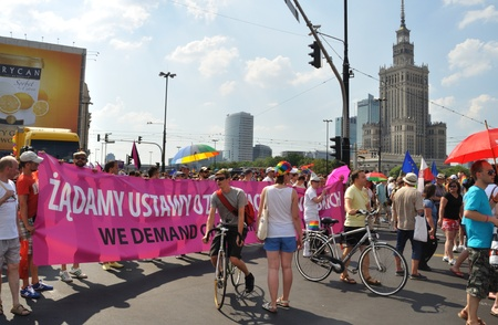 lesbianism: Warsaw, Poland - July 17, 2010 - Participants in the EuroPride Parade.
