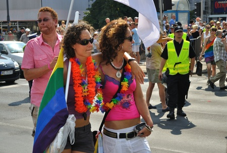 Warsaw, Poland - July 17, 2010 - Participants in the EuroPride Parade.