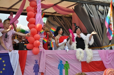 trans gender: Warsaw, Poland - July 17, 2010 - Participants in the EuroPride Parade.