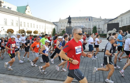 briskness: Warsaw, Poland - September 27, 2009 - Runners participating in the 31st Warsaw Marathon. More than 3000 participants was finished this Marathon.