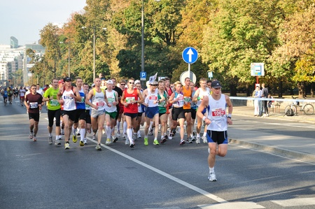 Warsaw, Poland - September 27, 2009 - Runners participating in the 31st Warsaw Marathon. More than 3000 participants was finished this Marathon.