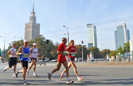 Warsaw, Poland - September 27, 2009 - Runners participating in the 31st Warsaw Marathon. More than 3000 participants was finished this Marathon. Stock Photo - 9444632