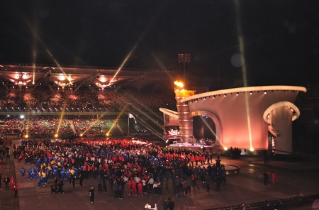 Warsaw, Poland - September 18, 2010 - The Special Olympics European Summer Games Opening Ceremony at the Legia Stadium - ELIOS 2010 - international sporting competition for athletes with intellectual disabilities.