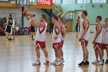international basketball: Warsaw, Poland - September 21, 2010 - Training Polish players before the basketball game Belgium Vs. Poland, during the Special Olympics European Summer Games  - ELIOS 2010 - international sporting competition for athletes with intellectual disabilities. Editorial