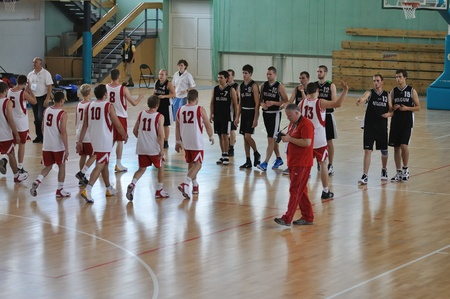 international basketball: Warsaw, Poland - September 21, 2010 - Beginning basketball game Belgium Vs. Poland during the Special Olympics European Summer Games  - ELIOS 2010 - international sporting competition for athletes with intellectual disabilities. Editorial
