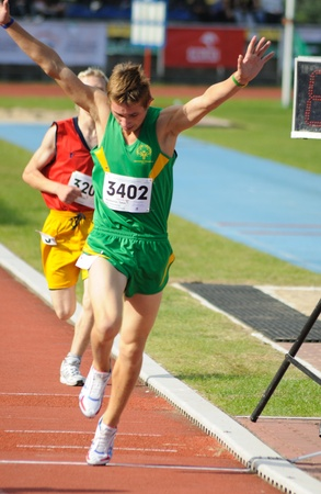 Warsaw, Poland - September 20, 2010 - Runners competing at 800 m during the Special Olympics European Summer Games - ELIOS 2010 - international sporting competition for athletes with intellectual disabilities. Stock Photo - 9472191