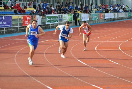 Warsaw, Poland - September 20, 2010 - Runners competing at 800 m during the Special Olympics European Summer Games - ELIOS 2010 - international sporting competition for athletes with intellectual disabilities.