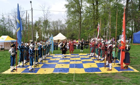 Ilza, Poland - May 01, 2010 - XIII Knights Tournament - Battle of Kircholm 1605 - Game of human chess by reenactors troupe.