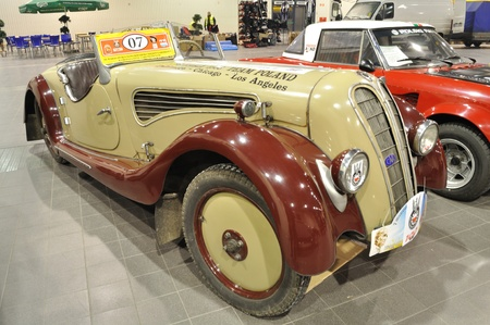 Warsaw, Poland - January 24, 2010 - Vintage Car 1934 IHLE-DKW in the automotive exhibition OLDTIMER BAZAR Warsaw, Poland.