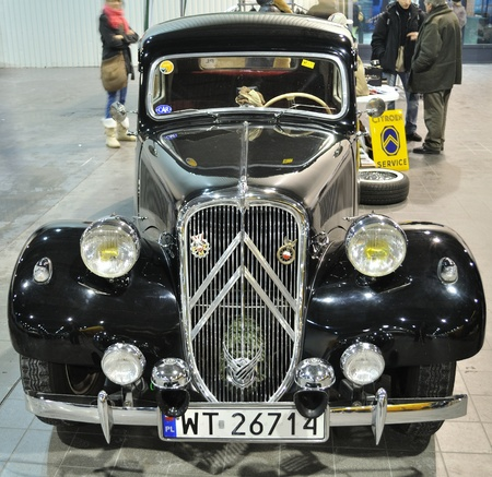 avant: Warsaw, Poland - January 24, 2010 - Vintage Car - Citroen Traction Avant in the automotive exhibition OLDTIMERBAZAR Warsaw, Poland.