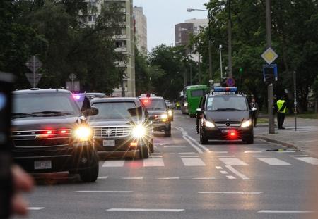 Warsaw, Poland - May 27, 2011 - Presidential motorcade transporting U.S. President Barack Obama in Warsaw streets.