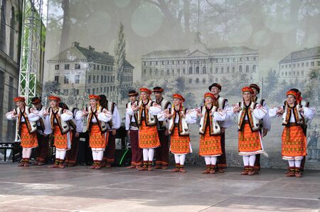 Warsaw, Poland - May 30, 2010 - Hutsul dances performed by Song and Dance Ensemble of Warsaw University of Technology - on the occasion of the 200th anniversary of the birth of Frederic Chopin. Hutsuls are an ethno-cultural group of Ukrainian highlanders.