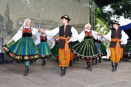 folk festival: Warsaw, Poland - May 30, 2010 - Lowicz dances performed by a folk group of Warsaw University of Life Sciences - on the occasion of the 200th anniversary of the birth of Frederic Chopin.
