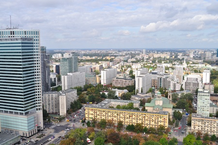 Warsaw downtown - aerial view. Poland  Stock Photo