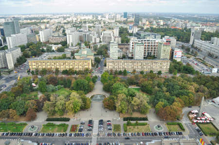 Urban green space in Warsaw, viewed from above. Poland