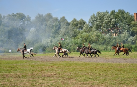 Ossow, Poland - August 16, 2009 - Participants of historical Battle of Warsaw (1920), reenact the Soviet soldiers.