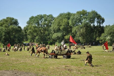reenact: Ossow, Poland - August 16, 2009 - Participants of historical Battle of Warsaw (1920), reenact the Soviet soldiers.