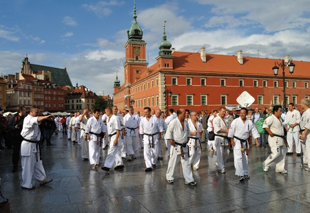 warsaw: Warsaw, Poland - August 29, 2010 - Training Kyokushin Karate with 300 competitors - Summer Seminar Shin Kyokushin.