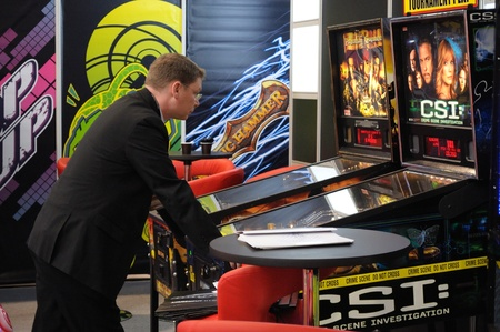Warsaw, Poland - October 14, 2010 - Gambling machines showcase at the SUREXPO 2010 - Salon of Entertainment Devices. Stock Photo - 9789494