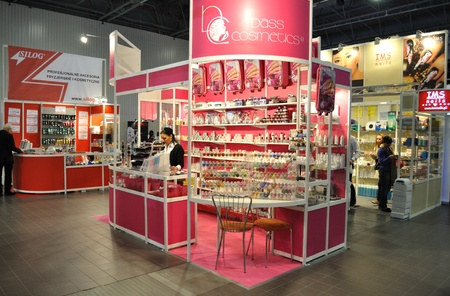 Warsaw, Poland - April 10, 2010 - Exhibition stand manufacturer of cosmetics. Beauty Showroom 2010 - Trade fairs of Cosmetics products and services.