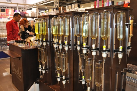 Warsaw, Poland - April 10, 2010 - Perfume dispensers. Beauty Showroom 2010 - Trade fairs of Cosmetics products and services. Stock Photo - 9891640