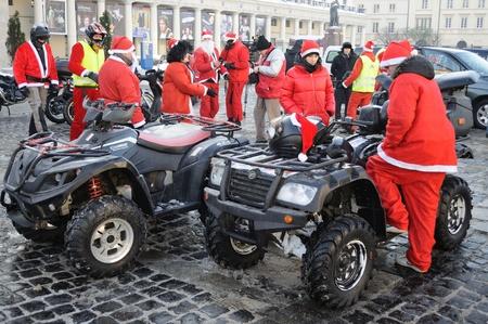 Warsaw, Poland - December 5, 2010 - MOTOMIKOLAJKI 2010 - annual gathering of Santas on ATV, as part of helping children in orphanages.