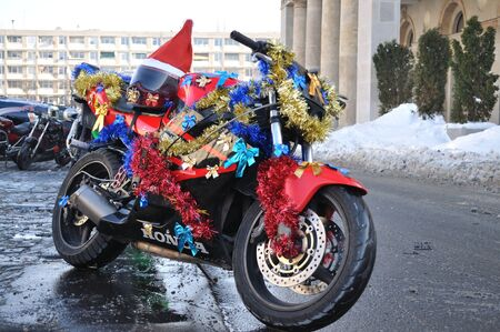 Warsaw, Poland - December 5, 2010 - MOTOMIKOLAJKI 2010 - motorcycle of Santa Claus during annual gathering, as part of helping children in orphanages.