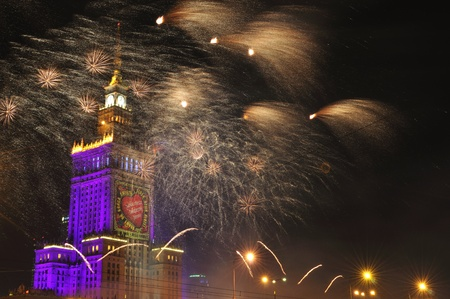 Warsaw, Poland - January 09, 2011 - Fireworks in Warsaw downtown - first Sunday of each year, during the 19th charity share Great Christmas Aid Orchestra for suffering children.