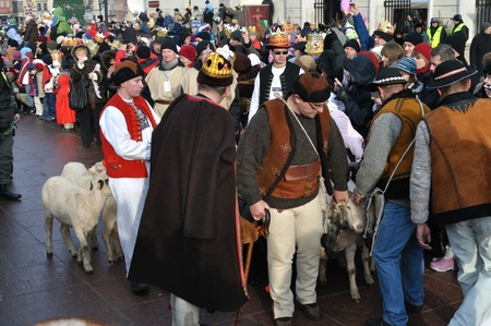 Warsaw, Poland - January 06, 2011 - Shepherds with sheep during the annual Three Kings Day Parade.